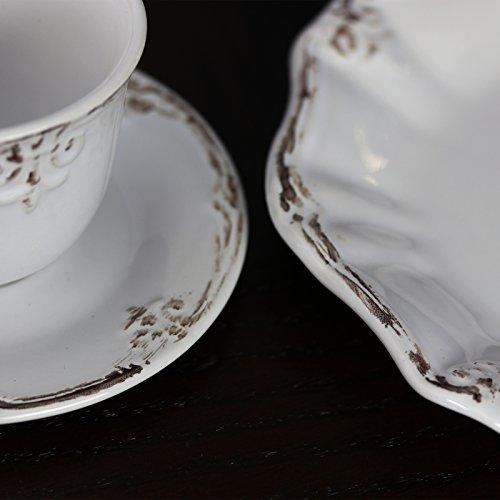 Elama Scalloped Round Stoneware Elegant Dinnerware Dish Set 20 Piece White 0 2