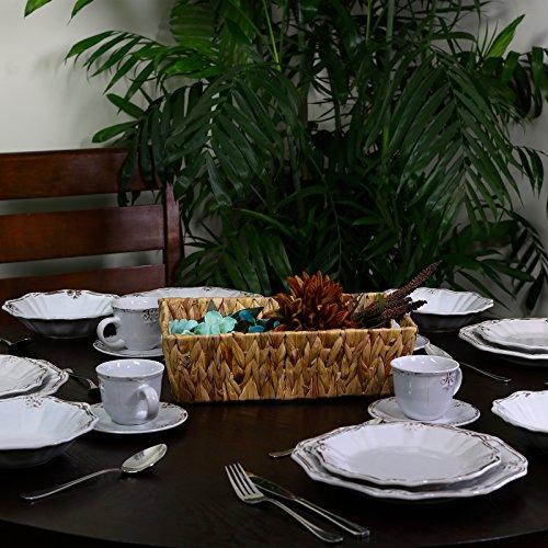 Elama Scalloped Round Stoneware Elegant Dinnerware Dish Set 20 Piece White 0 3