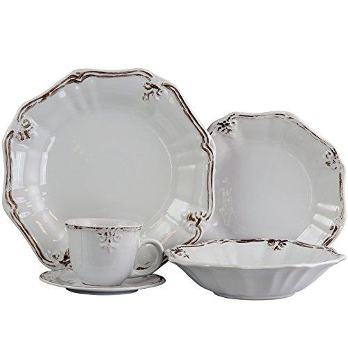 Elama Scalloped Round Stoneware Elegant Dinnerware Dish Set 20 Piece White 0