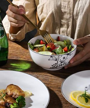 FIGULARK 18 Piece Rustic Flower Dinnerware Set For 6 Chip Resistant Kitchen Dishes Sets Large Plates Bowls For Dinner Salad Dessert 0 2 300x360