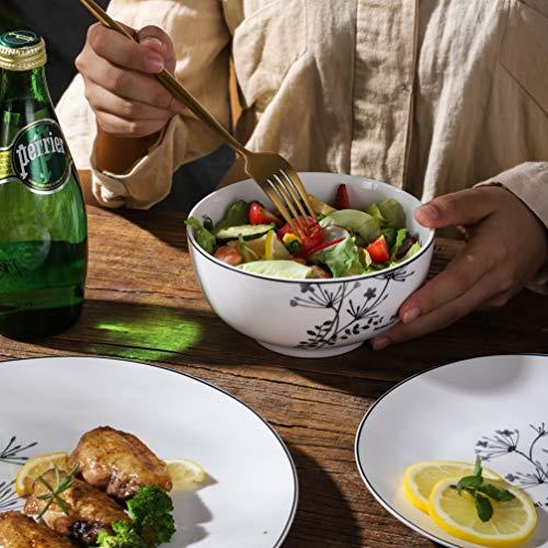 FIGULARK 18 Piece Rustic Flower Dinnerware Set For 6 Chip Resistant Kitchen Dishes Sets Large Plates Bowls For Dinner Salad Dessert 0 2