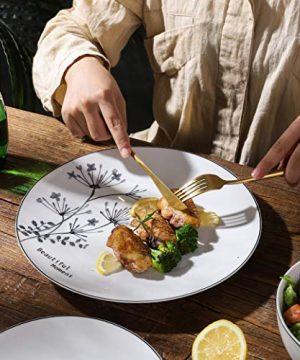 FIGULARK 18 Piece Rustic Flower Dinnerware Set For 6 Chip Resistant Kitchen Dishes Sets Large Plates Bowls For Dinner Salad Dessert 0 3 300x360