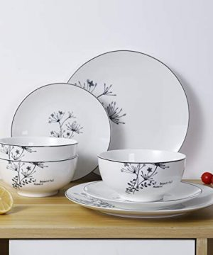 FIGULARK 18 Piece Rustic Flower Dinnerware Set For 6 Chip Resistant Kitchen Dishes Sets Large Plates Bowls For Dinner Salad Dessert 0 4 300x360