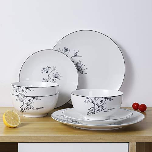 FIGULARK 18 Piece Rustic Flower Dinnerware Set For 6 Chip Resistant Kitchen Dishes Sets Large Plates Bowls For Dinner Salad Dessert 0 4