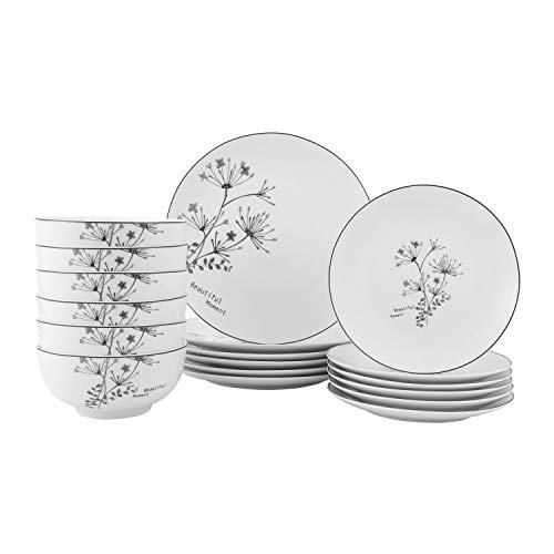 FIGULARK 18 Piece Rustic Flower Dinnerware Set For 6 Chip Resistant Kitchen Dishes Sets Large Plates Bowls For Dinner Salad Dessert 0