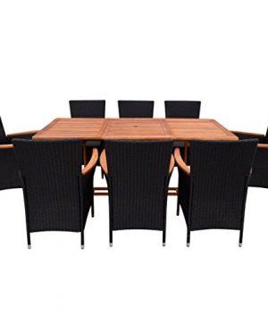 Festnight 9 Piece Outdoor Patio Rattan Wicker Furniture Dining Table Chair Set Black 0 0 300x360