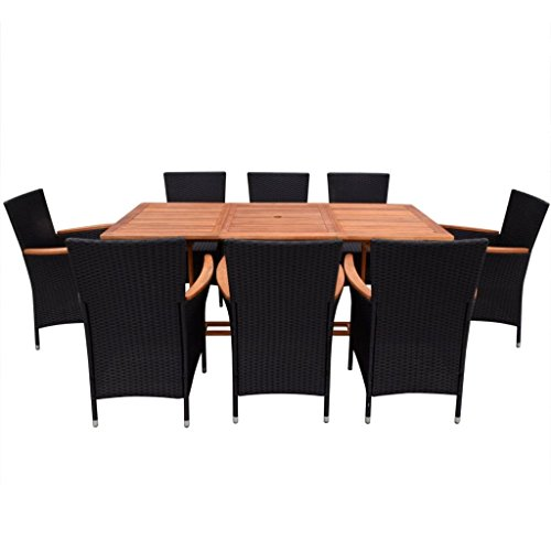 Festnight 9 Piece Outdoor Patio Rattan Wicker Furniture Dining Table Chair Set Black 0 0
