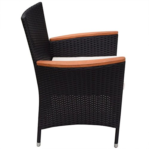 Festnight 9 Piece Outdoor Patio Rattan Wicker Furniture Dining Table Chair Set Black 0 4
