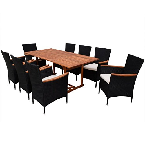 Festnight 9 Piece Outdoor Patio Rattan Wicker Furniture Dining Table Chair Set Black 0