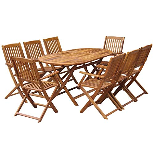 Festnight 9 Piece Wooden Outdoor Patio Dining Set Oval Folding Table With 8 Foldable Chairs Eucalyptus Wood Outdoor Furniture Space Saving For Garden Backyard Terrace Balcony 0