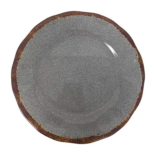 Giannas Home 12 Piece Rustic Farmhouse Melamine Dinnerware Set Gray 0 1