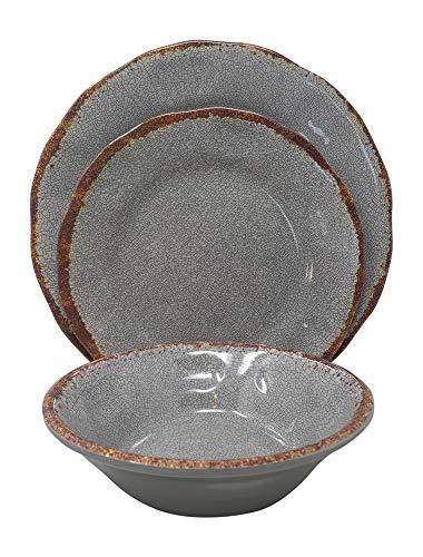 Giannas Home 12 Piece Rustic Farmhouse Melamine Dinnerware Set Gray 0