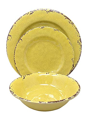 Giannas Home 12 Piece Rustic Farmhouse Melamine Dinnerware Set Service For 4 12 Piece Dinnerware Set Yellow 0