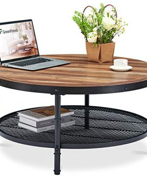GreenForest Coffee Table Round 358 Industrial 2 Tier Sofa Table With Storage Open Shelf And Metal Legs For Living Room Dark Oak 0 300x360