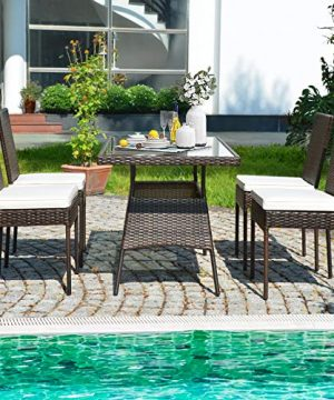 HAPPYGRILL 5 Pieces Patio Dining Set Outdoor Rattan Wicker Table And Chair Set With Glass Tabletop Modern Dining Furniture Set With Cushioned Chairs For Backyard Porch Dining Room Kitchen 0 0 300x360