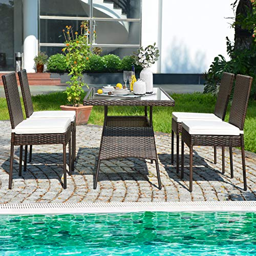 HAPPYGRILL 5 Pieces Patio Dining Set Outdoor Rattan Wicker Table And Chair Set With Glass Tabletop Modern Dining Furniture Set With Cushioned Chairs For Backyard Porch Dining Room Kitchen 0 0