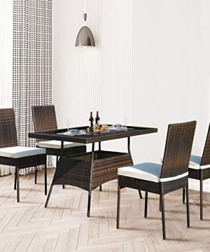 HAPPYGRILL 5 Pieces Patio Dining Set Outdoor Rattan Wicker Table And Chair Set With Glass Tabletop Modern Dining Furniture Set With Cushioned Chairs For Backyard Porch Dining Room Kitchen 0 1 300x360
