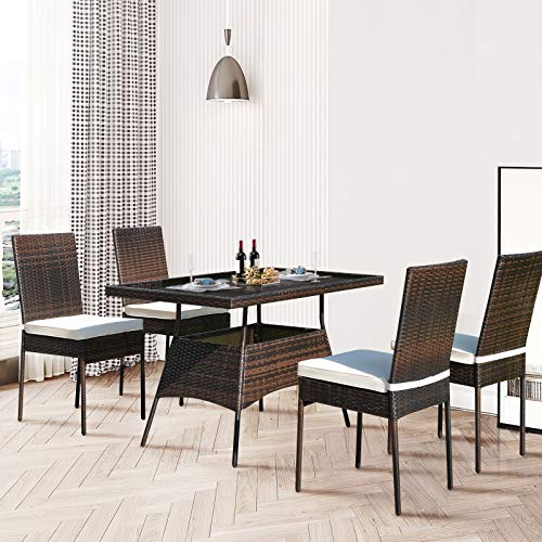 HAPPYGRILL 5 Pieces Patio Dining Set Outdoor Rattan Wicker Table And Chair Set With Glass Tabletop Modern Dining Furniture Set With Cushioned Chairs For Backyard Porch Dining Room Kitchen 0 1