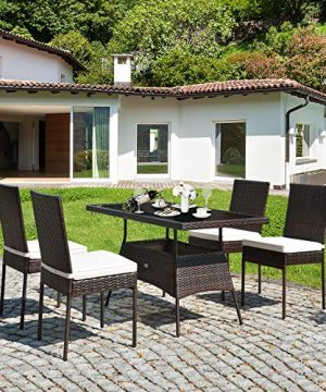 HAPPYGRILL 5 Pieces Patio Dining Set Outdoor Rattan Wicker Table And Chair Set With Glass Tabletop Modern Dining Furniture Set With Cushioned Chairs For Backyard Porch Dining Room Kitchen 0 2 300x360