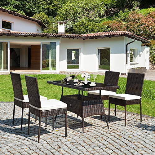 HAPPYGRILL 5 Pieces Patio Dining Set Outdoor Rattan Wicker Table And Chair Set With Glass Tabletop Modern Dining Furniture Set With Cushioned Chairs For Backyard Porch Dining Room Kitchen 0 2