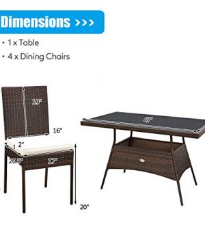 HAPPYGRILL 5 Pieces Patio Dining Set Outdoor Rattan Wicker Table And Chair Set With Glass Tabletop Modern Dining Furniture Set With Cushioned Chairs For Backyard Porch Dining Room Kitchen 0 3 300x360