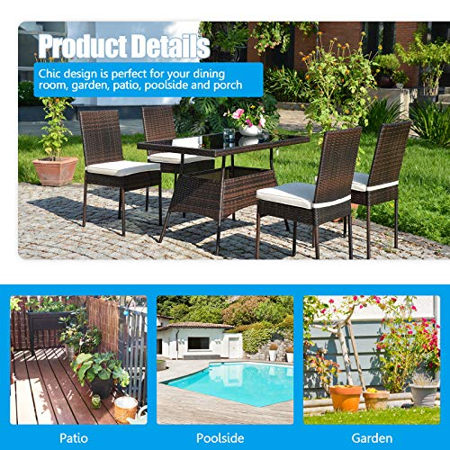 HAPPYGRILL 5 Pieces Patio Dining Set Outdoor Rattan Wicker Table And Chair Set With Glass Tabletop Modern Dining Furniture Set With Cushioned Chairs For Backyard Porch Dining Room Kitchen 0 4