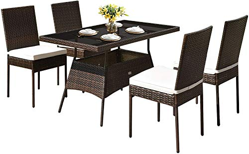 HAPPYGRILL 5 Pieces Patio Dining Set Outdoor Rattan Wicker Table And Chair Set With Glass Tabletop Modern Dining Furniture Set With Cushioned Chairs For Backyard Porch Dining Room Kitchen 0