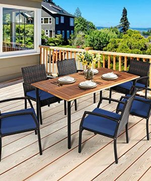 HAPPYGRILL 7 Piece Patio Dining Set Outdoor Furniture Rattan Wicker Dining Set With Umbrella Hole Powder Coated Steel Frame Acacia Wood Dining Table And Armchairs With Removable Cushions 0 0 300x360