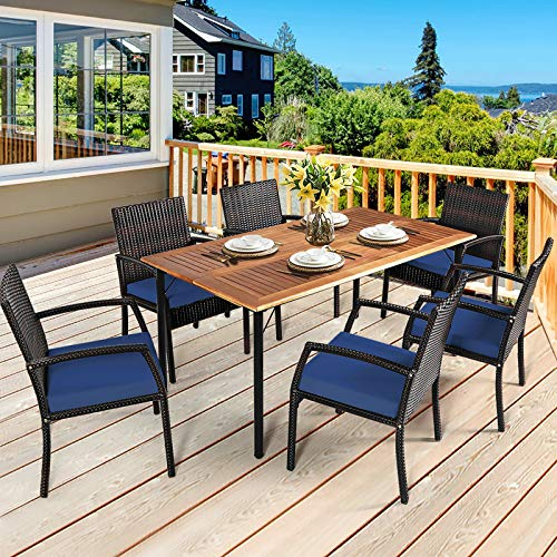 HAPPYGRILL 7 Piece Patio Dining Set Outdoor Furniture Rattan Wicker Dining Set With Umbrella Hole Powder Coated Steel Frame Acacia Wood Dining Table And Armchairs With Removable Cushions 0 0