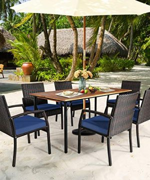 HAPPYGRILL 7 Piece Patio Dining Set Outdoor Furniture Rattan Wicker Dining Set With Umbrella Hole Powder Coated Steel Frame Acacia Wood Dining Table And Armchairs With Removable Cushions 0 1 300x360