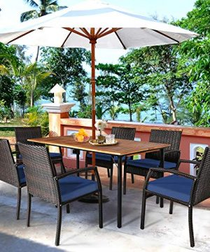HAPPYGRILL 7 Piece Patio Dining Set Outdoor Furniture Rattan Wicker Dining Set With Umbrella Hole Powder Coated Steel Frame Acacia Wood Dining Table And Armchairs With Removable Cushions 0 2 300x360