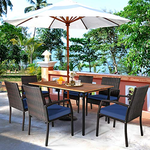 HAPPYGRILL 7 Piece Patio Dining Set Outdoor Furniture Rattan Wicker Dining Set With Umbrella Hole Powder Coated Steel Frame Acacia Wood Dining Table And Armchairs With Removable Cushions 0 2