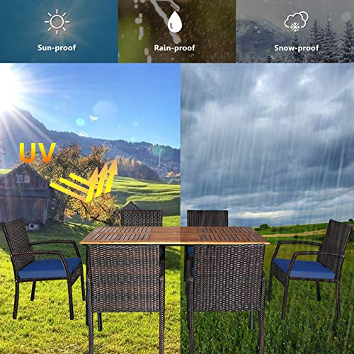 HAPPYGRILL 7 Piece Patio Dining Set Outdoor Furniture Rattan Wicker Dining Set With Umbrella Hole Powder Coated Steel Frame Acacia Wood Dining Table And Armchairs With Removable Cushions 0 4