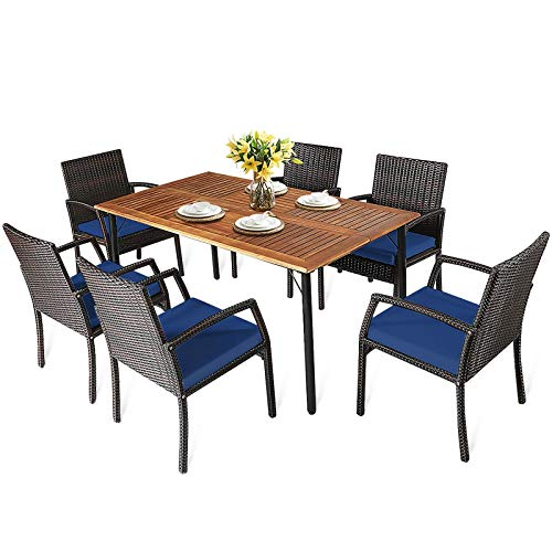 HAPPYGRILL 7 Piece Patio Dining Set Outdoor Furniture Rattan Wicker Dining Set With Umbrella Hole Powder Coated Steel Frame Acacia Wood Dining Table And Armchairs With Removable Cushions 0