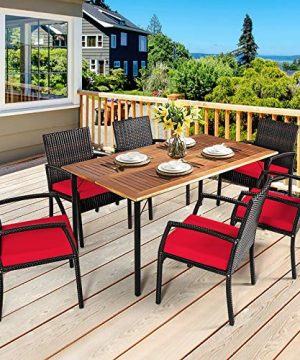 HAPPYGRILL 7 Pieces Patio Dining Set Outdoor Furniture Rattan Wicker Dining Set With Umbrella Hole Powder Coated Steel Frame Acacia Wood Dining Table And Armchairs With Removable Cushions 0 0 300x360