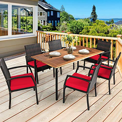 HAPPYGRILL 7 Pieces Patio Dining Set Outdoor Furniture Rattan Wicker Dining Set With Umbrella Hole Powder Coated Steel Frame Acacia Wood Dining Table And Armchairs With Removable Cushions 0 0
