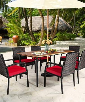HAPPYGRILL 7 Pieces Patio Dining Set Outdoor Furniture Rattan Wicker Dining Set With Umbrella Hole Powder Coated Steel Frame Acacia Wood Dining Table And Armchairs With Removable Cushions 0 1 300x360