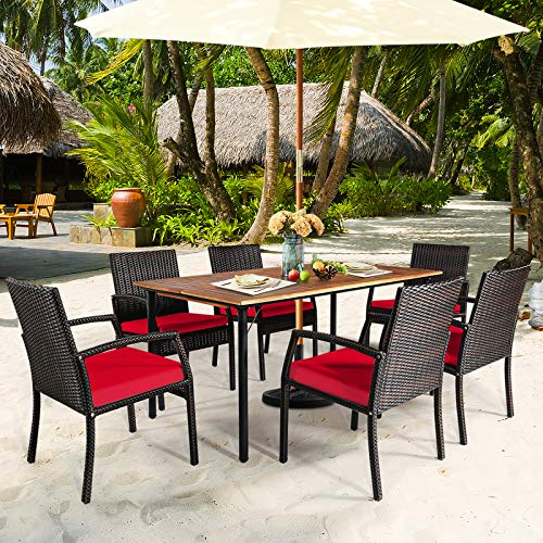 HAPPYGRILL 7 Pieces Patio Dining Set Outdoor Furniture Rattan Wicker Dining Set With Umbrella Hole Powder Coated Steel Frame Acacia Wood Dining Table And Armchairs With Removable Cushions 0 1