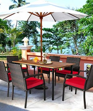 HAPPYGRILL 7 Pieces Patio Dining Set Outdoor Furniture Rattan Wicker Dining Set With Umbrella Hole Powder Coated Steel Frame Acacia Wood Dining Table And Armchairs With Removable Cushions 0 2 300x360