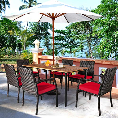 HAPPYGRILL 7 Pieces Patio Dining Set Outdoor Furniture Rattan Wicker Dining Set With Umbrella Hole Powder Coated Steel Frame Acacia Wood Dining Table And Armchairs With Removable Cushions 0 2