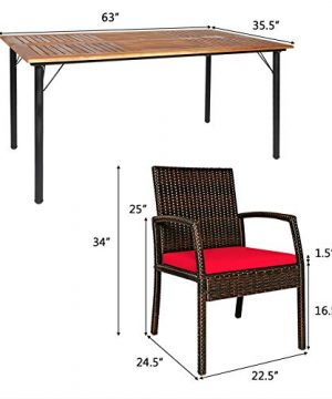 HAPPYGRILL 7 Pieces Patio Dining Set Outdoor Furniture Rattan Wicker Dining Set With Umbrella Hole Powder Coated Steel Frame Acacia Wood Dining Table And Armchairs With Removable Cushions 0 3 300x360