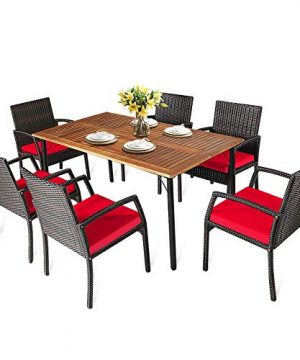 HAPPYGRILL 7 Pieces Patio Dining Set Outdoor Furniture Rattan Wicker Dining Set With Umbrella Hole Powder Coated Steel Frame Acacia Wood Dining Table And Armchairs With Removable Cushions 0 300x360