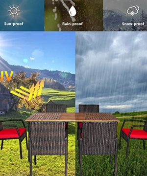 HAPPYGRILL 7 Pieces Patio Dining Set Outdoor Furniture Rattan Wicker Dining Set With Umbrella Hole Powder Coated Steel Frame Acacia Wood Dining Table And Armchairs With Removable Cushions 0 4 300x360