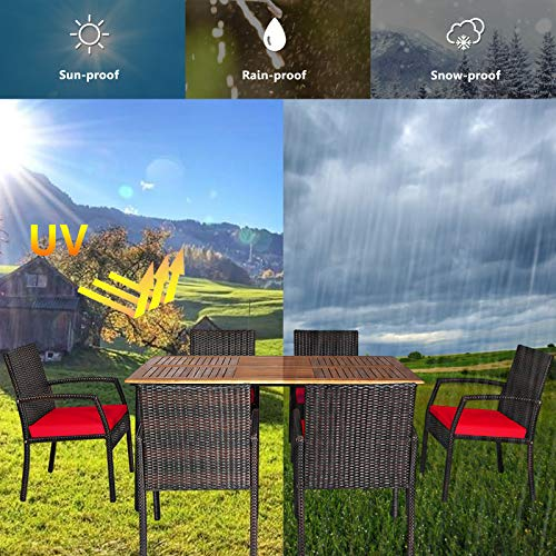 HAPPYGRILL 7 Pieces Patio Dining Set Outdoor Furniture Rattan Wicker Dining Set With Umbrella Hole Powder Coated Steel Frame Acacia Wood Dining Table And Armchairs With Removable Cushions 0 4