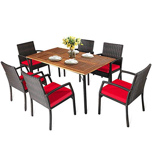 HAPPYGRILL 7 Pieces Patio Dining Set Outdoor Furniture Rattan Wicker Dining Set With Umbrella Hole Powder Coated Steel Frame Acacia Wood Dining Table And Armchairs With Removable Cushions 0