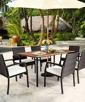HAPPYGRILL 7PCS Patio Dining Furniture Set Outdoor Rattan Wicker Dining Set With Umbrella Hole Powder Coated Steel Frame Acacia Wood Dining Table And Armchairs With Removable Cushions 0 0 300x360