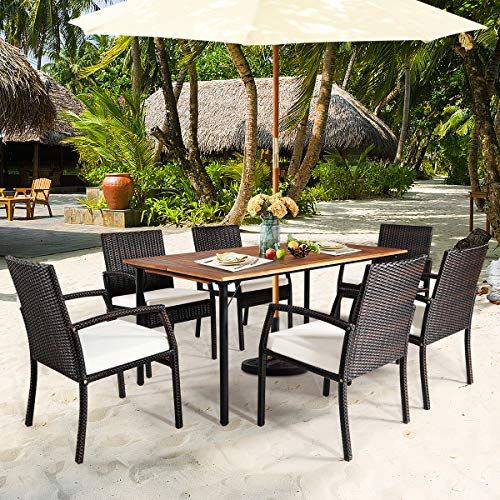 HAPPYGRILL 7PCS Patio Dining Furniture Set Outdoor Rattan Wicker Dining Set With Umbrella Hole Powder Coated Steel Frame Acacia Wood Dining Table And Armchairs With Removable Cushions 0 0