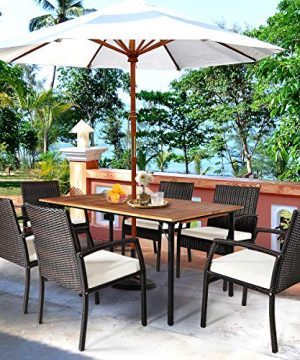 HAPPYGRILL 7PCS Patio Dining Furniture Set Outdoor Rattan Wicker Dining Set With Umbrella Hole Powder Coated Steel Frame Acacia Wood Dining Table And Armchairs With Removable Cushions 0 1 300x360