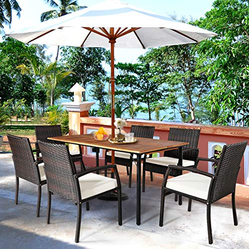 HAPPYGRILL 7PCS Patio Dining Furniture Set Outdoor Rattan Wicker Dining Set With Umbrella Hole Powder Coated Steel Frame Acacia Wood Dining Table And Armchairs With Removable Cushions 0 1