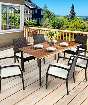 HAPPYGRILL 7PCS Patio Dining Furniture Set Outdoor Rattan Wicker Dining Set With Umbrella Hole Powder Coated Steel Frame Acacia Wood Dining Table And Armchairs With Removable Cushions 0 2 300x360